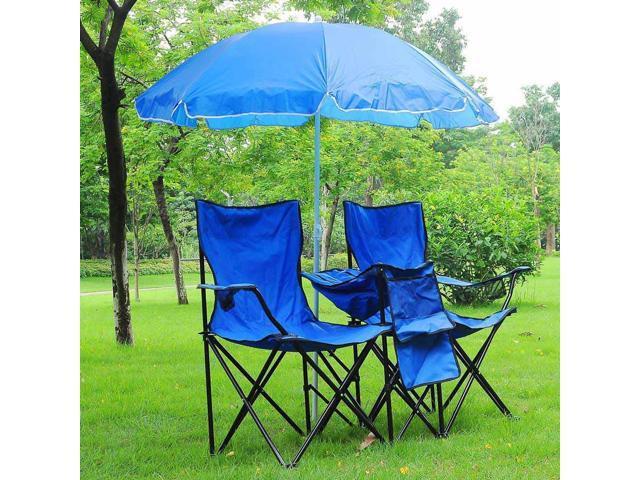 Double Folding Chair w/ Umbrella Table Cooler Fold Up Picnic C&ing Beach Garden  sc 1 st  Newegg.com & Double Folding Chair w/ Umbrella Table Cooler Fold Up Picnic ...