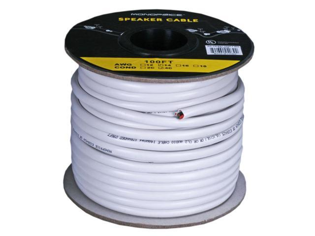 Monoprice Access Series 8 Gauge AWG CL8 Rated 8 Conductor Speaker Wire /  Cable - 8ft Fire Safety In Wall Rated, Jacketed In White PVC Material