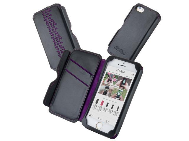 outlet store e0ba9 95da5 Genuine Leather iPhone 5 5S Wallet Case & Card Holder- the Rise Luxury  Designer Case in Imperial Purple on Black Cowhide - Newegg.com