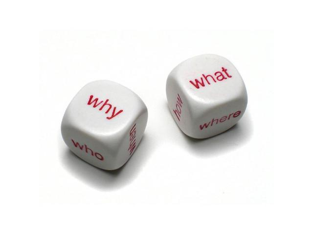 White w// Red Set of 10 D6 16mm Educational Spanish Interrogative Questions Dice