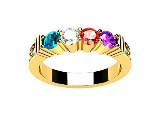 NANA Mothers Ring Shared Prong 1 to 6 Stone Sterling Silver or Solid 10k Gold