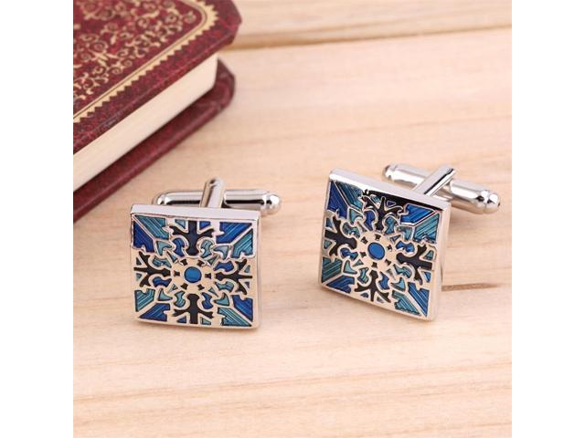 1 Pair Classic Mens Wedding Party Gift Shirt Square Blue Cufflinks