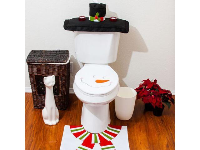 Remarkable Christmas Decorations Happy Santa Toilet Seat Cover Rug Bathroom Set Snowman Newegg Com Customarchery Wood Chair Design Ideas Customarcherynet