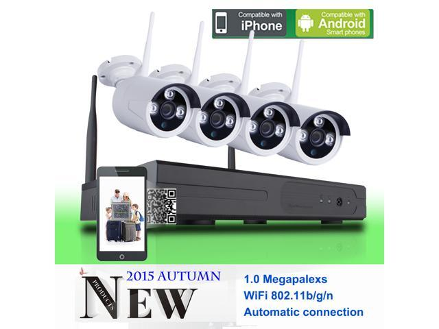 SW 4CH WIFI NVR Wireless Security Camera System with 4 Wireless IP 720P  wide angle lens Outdoor security CCTV Cameras + 4CH WIFI NVR Plug and Play