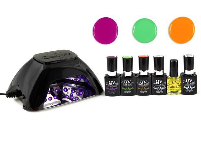 UV-NAILS Salon Quality UV Gel Nail Polish Starter Kit with Black LED ...