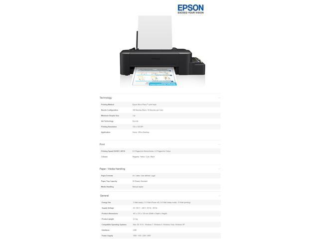 EPSON L120 Single-function Compact Size Printer Inkjet Color Ink Tank  System - Newegg com