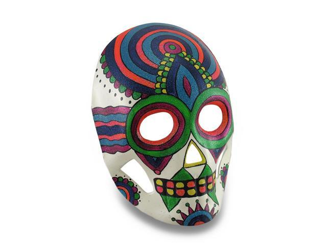 colorful sparkling rainbow striped dod sugar skull style halloween mask