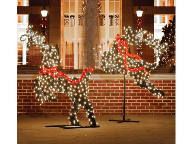 575 giant commercial grade led lighted leaping reindeer topiary christmas outdoor decoration - Commercial Outdoor Lighted Christmas Decorations