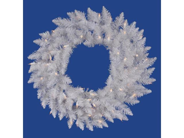 Prelit Christmas Wreath.60 Pre Lit Sparkle White Spruce Artificial Christmas Wreath Clear Lights Newegg Com