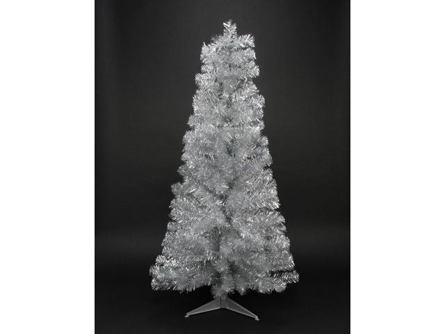 4' Holographic Silver Tinsel Slim Artificial Christmas