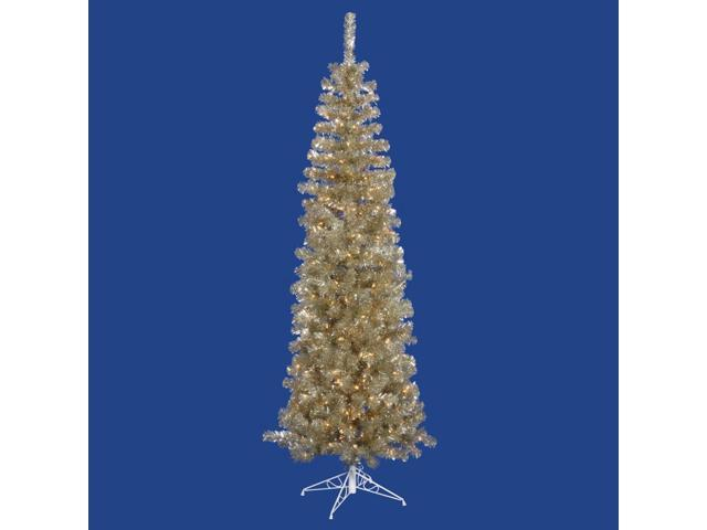 7 5 X 34 Pre Lit Champagne Gold Tinsel Artificial Christmas Tree Clear Dura Lights Newegg Com