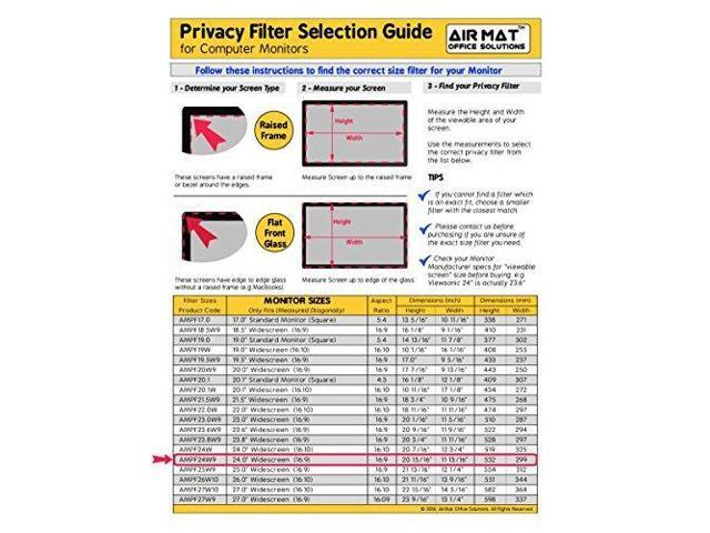 24 Inch Privacy Screen Filter for Widescreen Computer Monitor / LCD (16:9  Aspect Ratio)  Best Anti Glare Protector Film for data confidentiality -