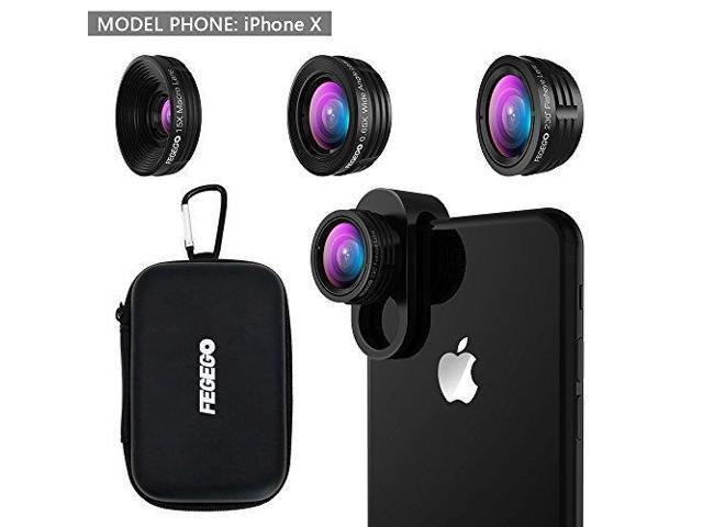 on sale 945a5 6c1ae FEGEGO Camera Lens Kit for iPhone X/ 8/ 7Plus/ 7/ 6sPlus, Samsung S8+/  Note8 and other Cellphones (230° Fisheye Lens, 0.65X Super Wide Angle Lens,  ...