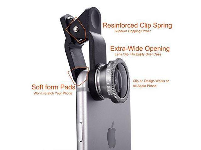 3 in 1 HD Cell Phone Camera Lens Kit Fisheye Lens,Macro Lens,Wide Angle  Lens,Professional Clip Lens Attachment Kit for iPhone,Samsung,LG,Android