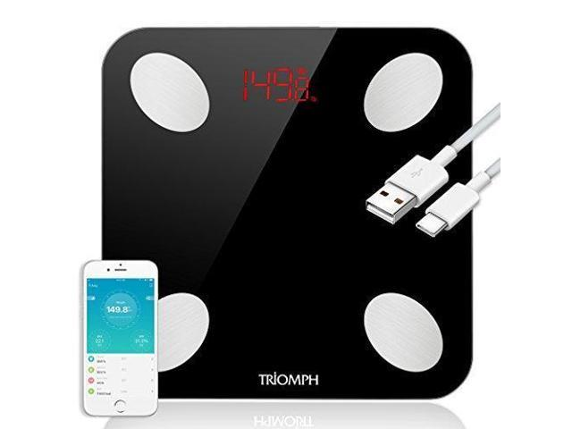 Triomph Rechargeable Smart Bluetooth Scale, USB Charging Body Fat Scale  with IOS and Android App Digital Bathroom Scale for Weight, Body Fat,  Water,