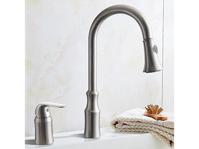KES BRASS Pulldown Kitchen Faucet Brushed Nickel Single Handle 2 Hole  Modern Commercial Pullout Sink Faucet Swivel High Arc Gooseneck Pull Down  ...