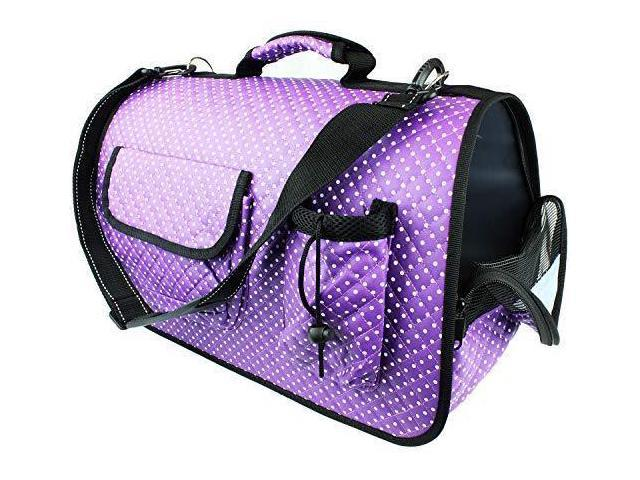 c5428576dc02 bogo Brands Soft Sided Pet Carrier for Dogs and Cats - Airline Approved  Travel Bag for Small Animals (Purple Polka Dot) - Newegg.com