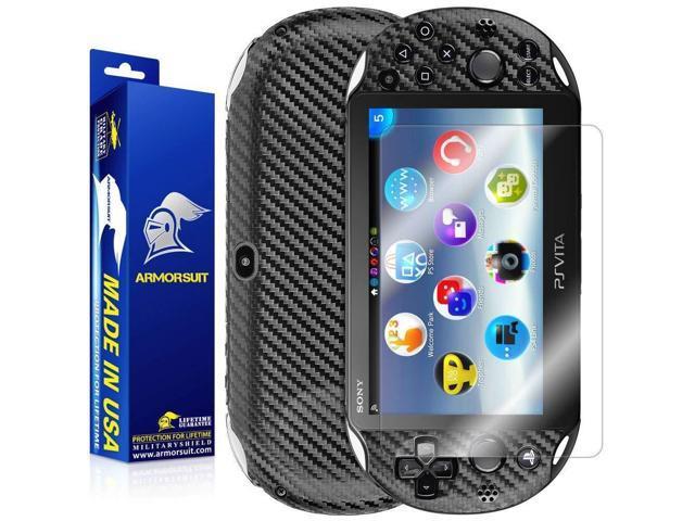 ArmorSuit Playstation Vita Slim (2014 Release) Screen Protector  MilitaryShield + Black Carbon Fiber Skin Wrap Back Film Protector For  Playstation Vita