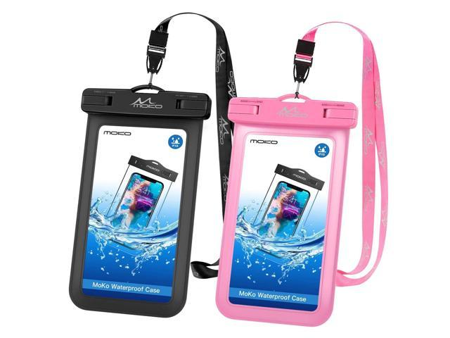 the best attitude 2b5b3 e3d40 MoKo Waterproof Phone Pouch [2 Pack], Underwater Phone Case Dry Bag with  Lanyard Compatible with iPhone X/Xs/Xr/Xs Max, 8/7/6s Plus, Samsung Galaxy  ...