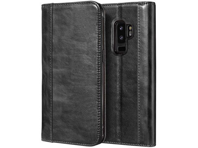 detailed look 67787 d3934 ProCase Galaxy S9 Plus Genuine Leather Case, Vintage Wallet Folding Flip  Case with Kickstand, Card Holder, Magnetic Closure Protective Cover for ...