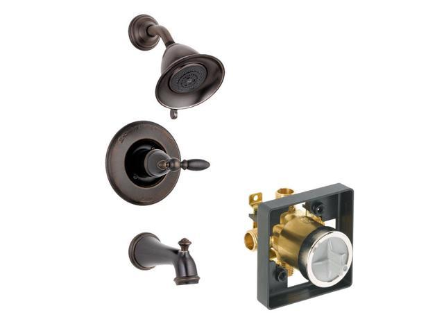 Delta Delta KTSDLE-T14478H2O-H777-RB Leland Tub//Shower Kit Pressure-Balance Single-Function Cartridge with Porcelain Lever Handle Venetian Bronze Venetian Bronze