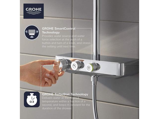 GROHE 26511000 Euphoria SmartControl Mono Shower System with Thermostat for  Wall Mount, Starlight Chrome - Newegg com