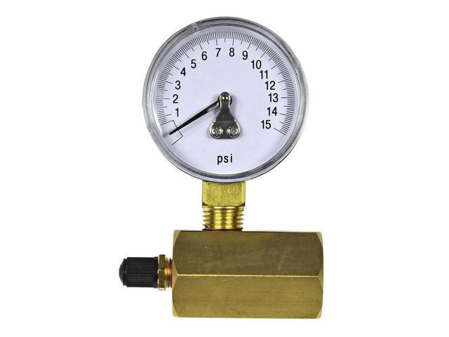 Chrome-Plated Danco Gas Test Gauge for 0-15 psi at 1//10 Increments 94352