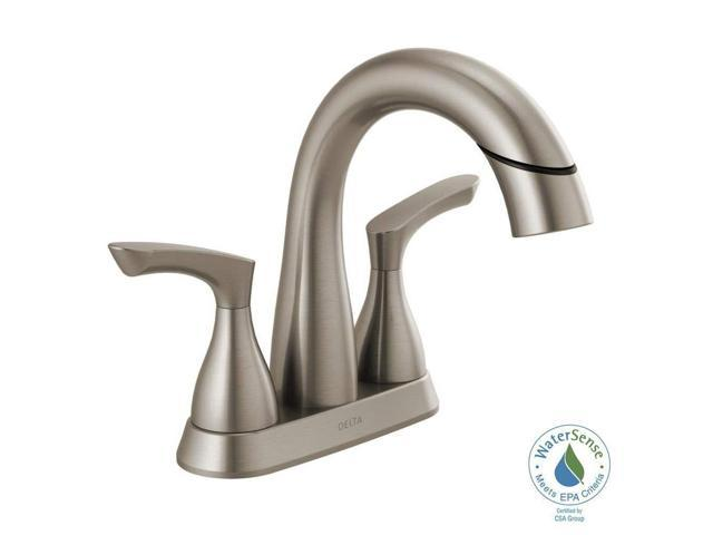 Delta Alux Spotshield Brushed Nickel 2 Handle Widespread: Delta 25765LF-SPPD Broadmoor 4 In. Centerset 2-Handle Pull