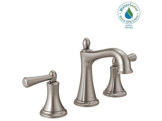 Delta Alux Spotshield Brushed Nickel 2 Handle Widespread: Delta Rila 8 Inch Widespread 2-Handle Bathroom Faucet In