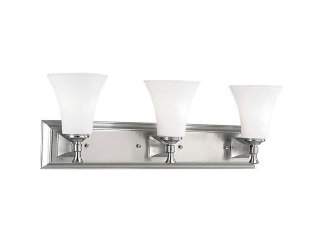 Progress lighting p3133 09 3 light bath fixture brushed - 8 light bathroom fixture brushed nickel ...