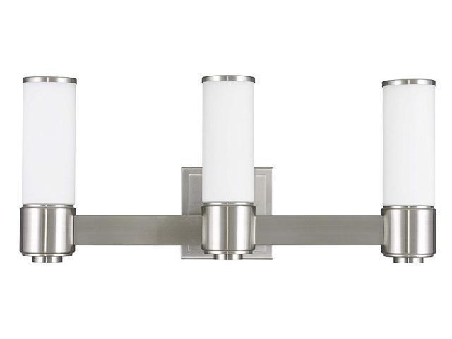 Livex Oldwick Modern Brushed Nickel 3 Light Bathroom: Livex Lighting 52123-91 Weston 3 BN Wall Sconce/Bath Light