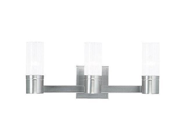 Livex Oldwick Modern Brushed Nickel 3 Light Bathroom: Livex Lighting 50683-91 Midtown 3-Light Bath Light