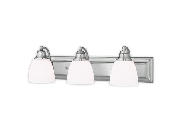 Livex Oldwick Modern Brushed Nickel 3 Light Bathroom: Livex Lighting 10503-91 Springfield 3 Brushed Nickel Bath