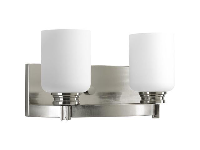 Progress Lighting Inspiration 2 Light Brushed Nickel: Progress Lighting P3057-09 Orbitz Two Light Bath Vanity
