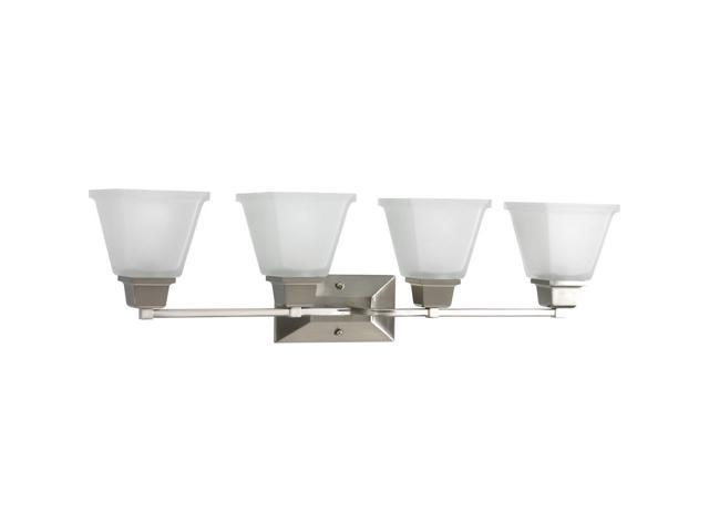 Progress Lighting Lucky Collection 4 Light Brushed Nickel: Progress Lighting P2745-09 4-Light Bath Fixture With