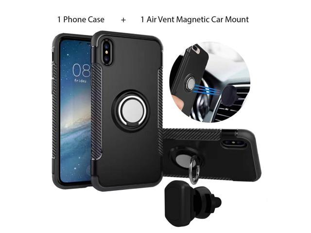 timeless design c3662 a7a36 Rugged Finger Ring Kickstand Case & Air Vent Magnetic Car Mount/Rotating  Finger Ring Holder & Magnet Car Holder FITS iPhone Xs Max (Black) - ...