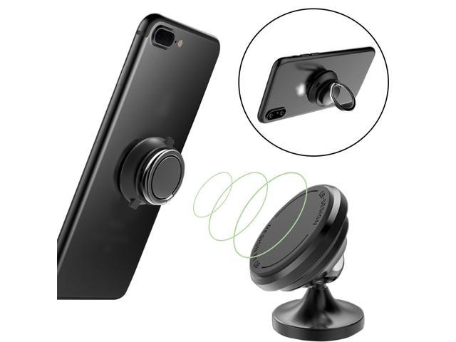 Magnetic Car Mount Holder with Phone Ring Holder, Universal Car Dashboard  Mount Stands for iPhone X,iPhone 8/8 Plus, iPhone 7/7 Plus, Samsung Galaxy