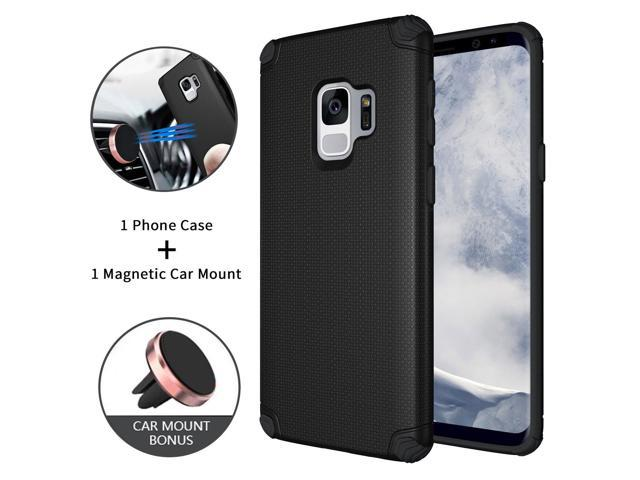 Ownest Galaxy S9 Case,Cool Series Lightweight,Hidden Iron Sheet + Magnetic  Car Mount-Air Vent Car Mount Holder Accessories Integrated Magnetic Metal