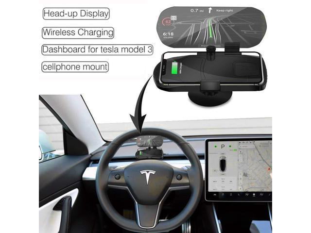 Tesla Model 3 Accessories, Head up Display Phone Holder,Dashboard, Wireless  Charger Phone Mount for iPhone Xs Max/XS/XR/X/8Plus/8 and for