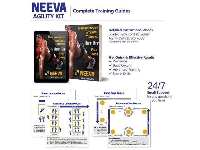 NEEVA Speed Agility Training Kit- Set of Premium Agility Ladder, 10 Disc  Cones, Resistance Running Parachute, Jumping Rope, Mini Loop Bands & Sport