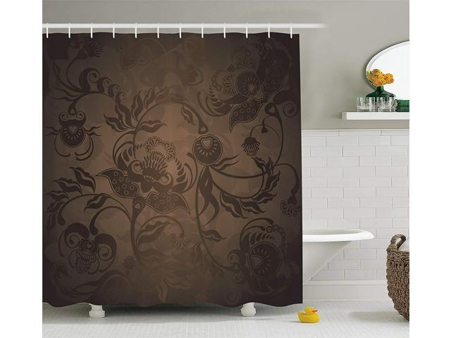 Ambesonne Victorian Decor Shower Curtain Fl Paisley Ivy Design Leaves With Abstract Details Print Fabric Bathroom Set Hooks 84