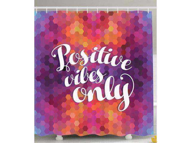 Purple Shower Curtain Colorful Mosaic Art Decor Funny Inspirational Quotes  Ideas Positive Thinking Positive Vibes Only Decoration for Modern Bathroom  ...