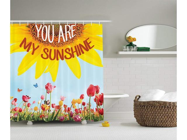 2c810e3b0607 Ambesonne Western Farmhouse Mansion Nature Decor Collection, Sunflower  Poppies Tulips Pansy Flowers Butterfly You are My Sunshine, Polyester  Fabric ...