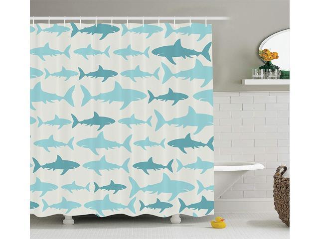 Ambesonne Fish Shower Curtain Blue Decor, Sharks Pattern Sea Animals Theme  Monochrome Fashion Maritime Aquatic Print, Bathroom Accessories, With  Hooks, ...