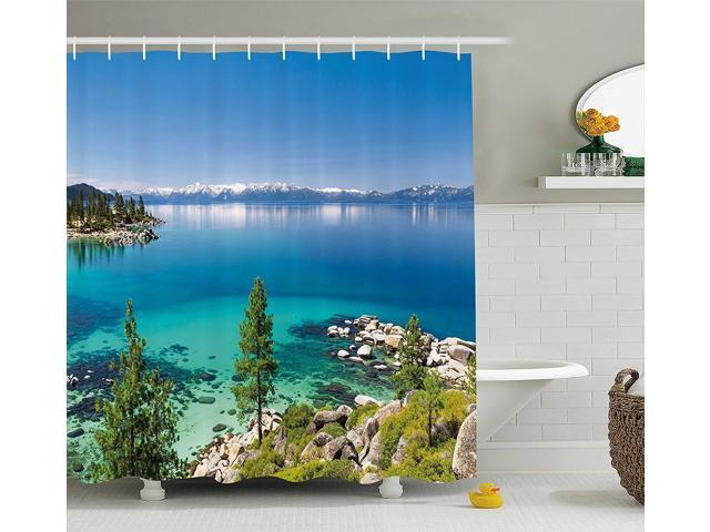 Blue Grey Green Tranquil View of Lake Tahoe Sierra Pines on Rocks with Turquoise Waters Shoreline Ambesonne Blue Shower Curtain Fabric Bathroom Decor Set with Hooks 70 Inches