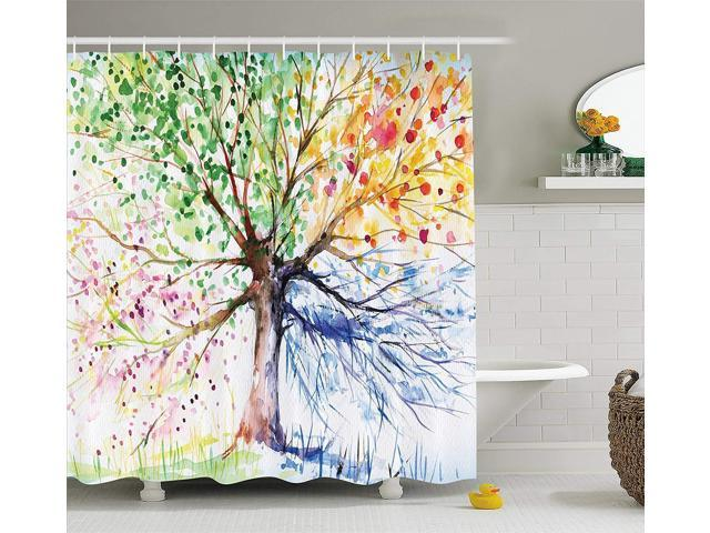 Colorful Tree Four Seasons Shower Curtain Berry Green Red Yellow Navy Brown Extra Long Bath Decorations Bathroom Decor Sets With Hooks Marriage