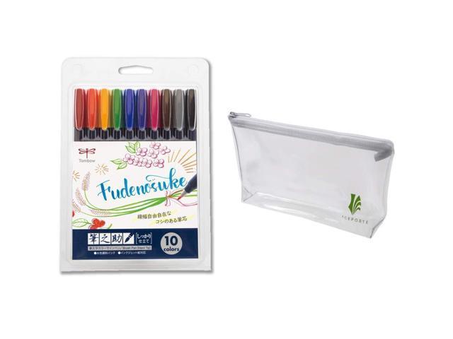 Tombow WS-BH10C Fudenosuke Water-based Brush Pen Hard  10 Color Set