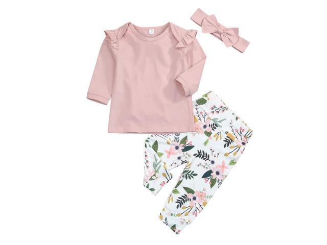 80523734357df Newborn Infant Baby Girls Long Sleeve Ruffle Shirts + Floral Pants with  Headband 3PCS Outfit Sets - Newegg.com