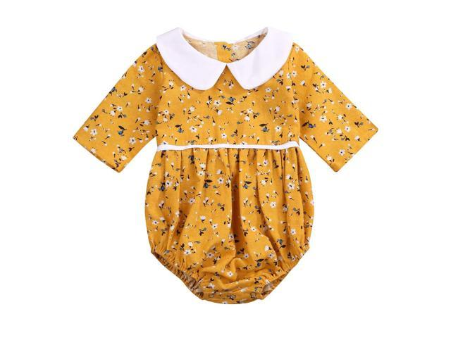 d89e216ff Toddler Baby Girls Peter Pan Collar Long Sleeve Floral Romper Baby Bodysuit  Outfits Spring Clothing