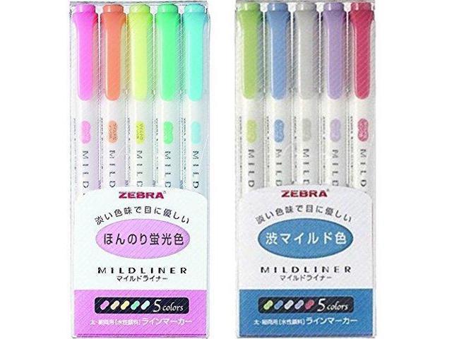 5-Color Set // WKT7-5C-RC //WKT7-5C-NC 5-Color Set Zebra MILDLINER WKT7-5C 5-Color Set 3 pack